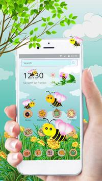 Cute Yellow Honeybee 2d theme (free) apk screenshot