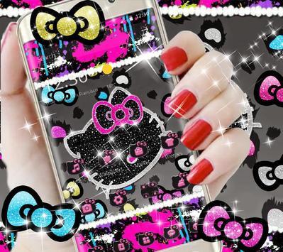 Kitty Black Diamond Bowknot Sweet Princess Theme apk screenshot