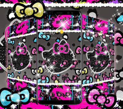 Kitty Black Diamond Bowknot Sweet Princess Theme apk screenshot