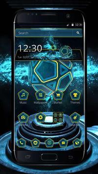 Neon Pentagon Blue Tech Theme poster