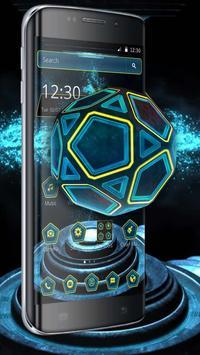 Neon Pentagon Blue Tech Theme screenshot 1