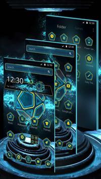 Neon Pentagon Blue Tech Theme screenshot 2