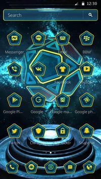 Neon Pentagon Blue Tech Theme screenshot 4