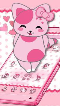 Cute Pink Kitten Blush Rose Theme poster