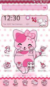 Cute Pink Kitten Blush Rose Theme apk screenshot
