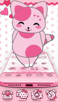 Cute Pink Kitten Blush Rose Theme screenshot 2