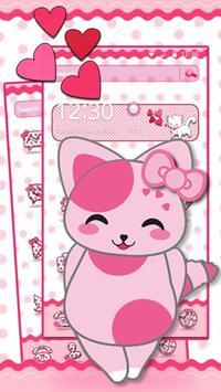 Cute Pink Kitten Blush Rose Theme screenshot 4