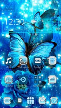 Blue Neon Butterfly Theme poster