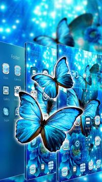 Blue Neon Butterfly Theme screenshot 1