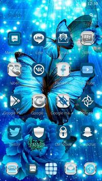Blue Neon Butterfly Theme screenshot 2