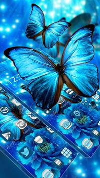 Blue Neon Butterfly Theme screenshot 3