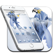 Parrot Keyboard Theme Water Drop Blue bird Theme icon