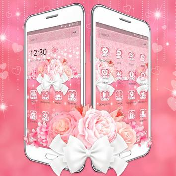 Charming Pink Roses Bow Launcher Theme screenshot 1