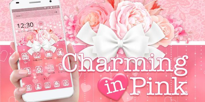 Charming Pink Roses Bow Launcher Theme screenshot 3