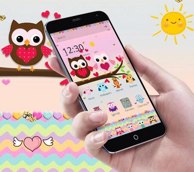 Pink Lovely Owl Cartoon Theme poster