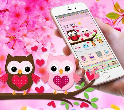 Pink Lovely Owl Cartoon Theme screenshot 1