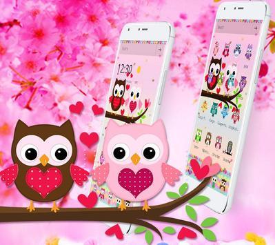 Pink Lovely Owl Cartoon Theme screenshot 2