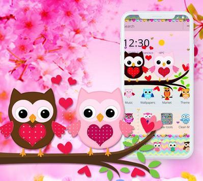 Pink Lovely Owl Cartoon Theme screenshot 3
