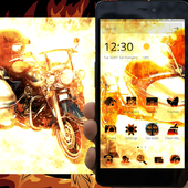Motorcycle Fire Theme Love Motorbike of Harley icon