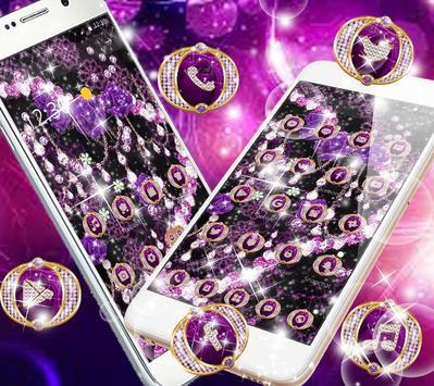 Purple Rose Diamond Flowers  Pendant Theme apk screenshot