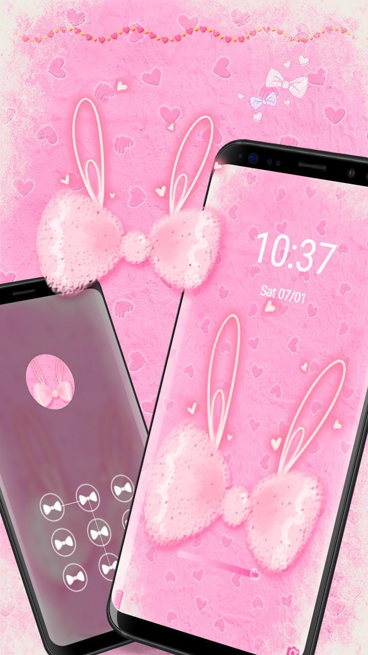 Android 用の ピンクのかわいいウサギの弓のテーマテーマ美しい夢