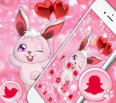 Lovely Pink Rabbit Theme screenshot 2