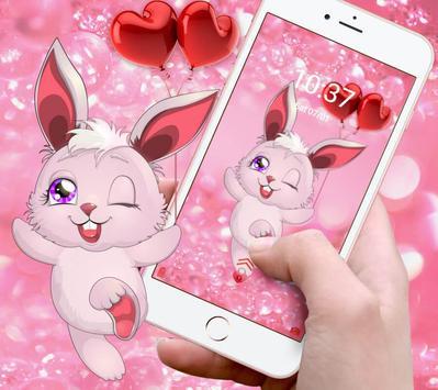 Lovely pink rabbit theme apk screenshot