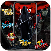Halloween graffiti horror ghost bloody theme icon