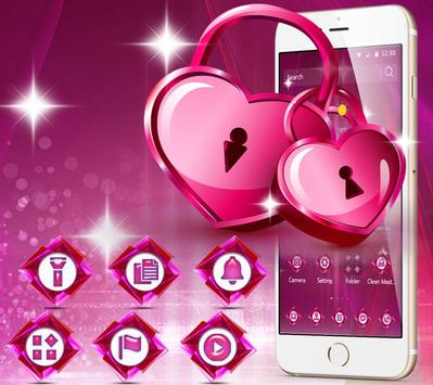 Romantic pink heart theme poster