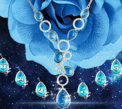 The Blue Magnificent Rose And Diamond Theme apk screenshot