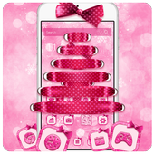 Pink bowknot dream Christmas theme icon