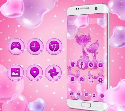 Purple Pink Lovely Cat Theme apk screenshot