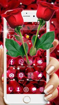 Beautiful Red Rose Petals Theme poster