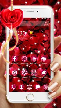 Beautiful Red Rose Petals Theme screenshot 1