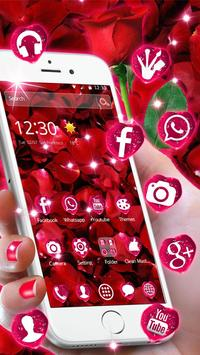 Beautiful Red Rose Petals Theme screenshot 3