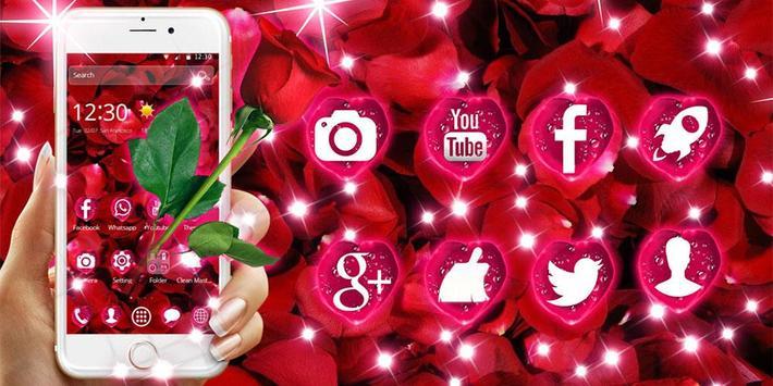Beautiful Red Rose Petals Theme screenshot 5