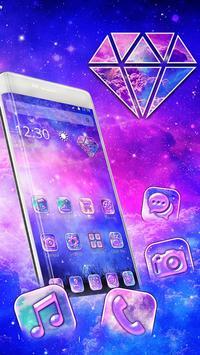 Galaxy pink bluish Theme poster