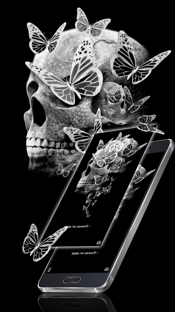 Butterfly skull theme+launcher poster