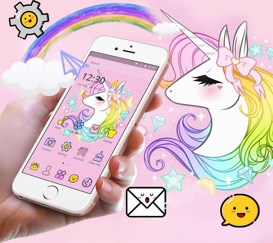 Cute Unicorn Rainbow Theme For Android Apk Download
