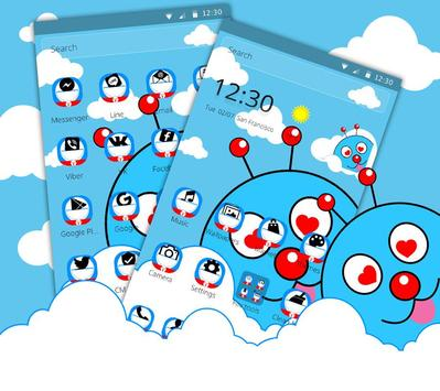Blue Cute Cartoon Theme screenshot 1
