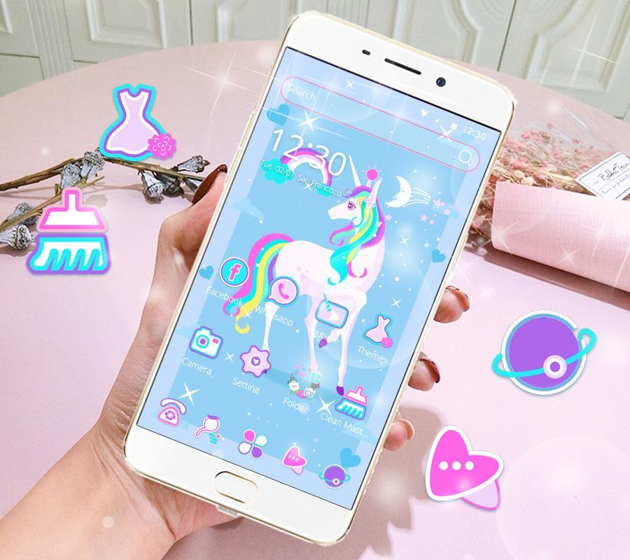 Cute Rainbow Unicorn Theme Pink Wallpaper Icon Poster