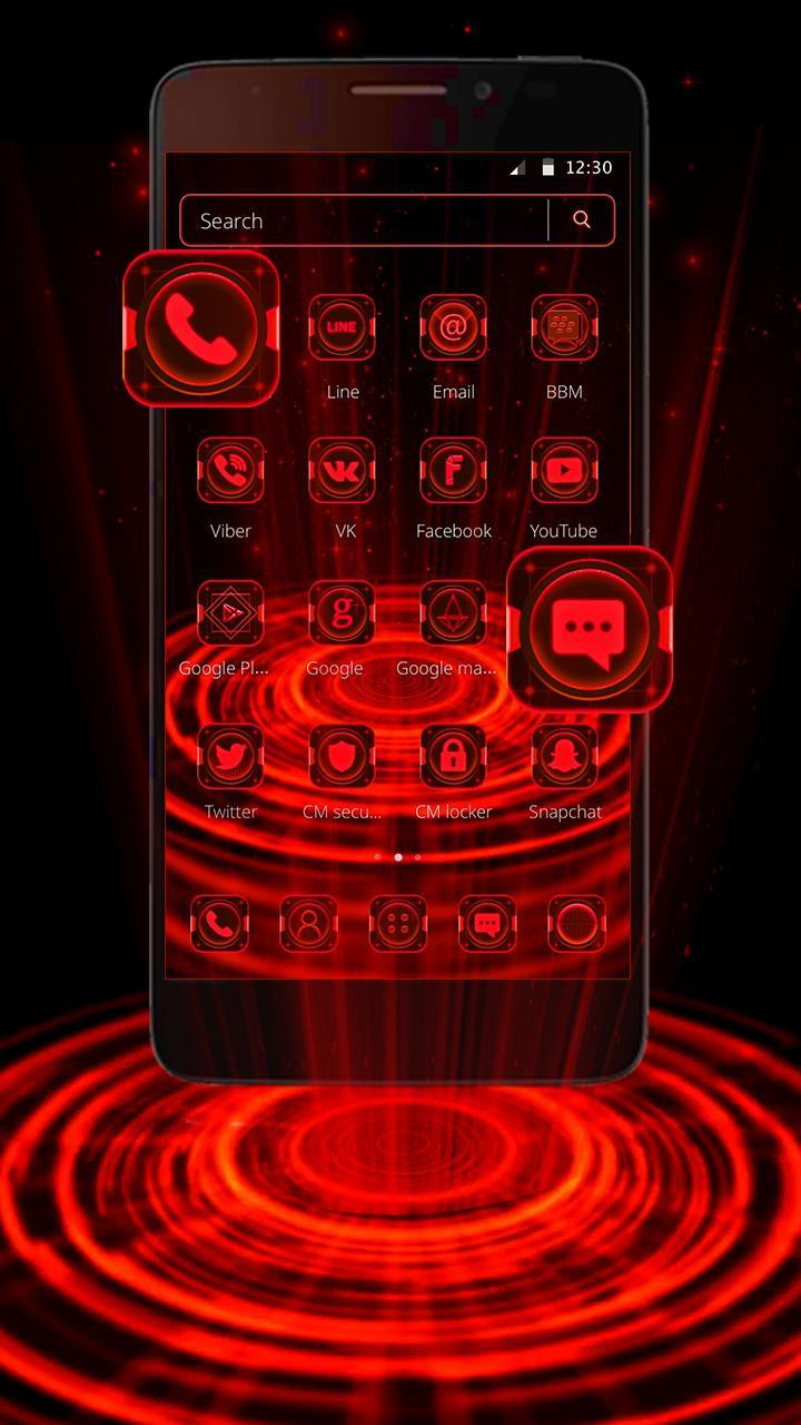 Space Neon Red Hologram Theme For Android Apk Download