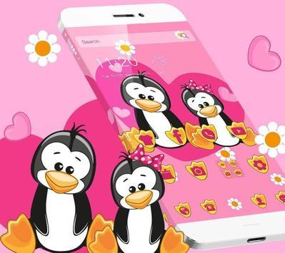Cute Pink Penguin Love Theme DIY Wallpaper Apk