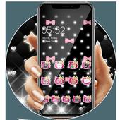 Pink Black Glitter Kitty Bowknot Theme icon