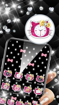 Pink Black Glitter Kitty Bowknot Theme screenshot 1