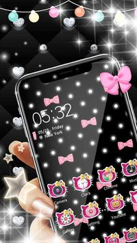 Pink Black Glitter Kitty Bowknot Theme screenshot 2
