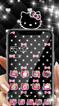 Pink Black Glitter Kitty Bowknot Theme apk screenshot