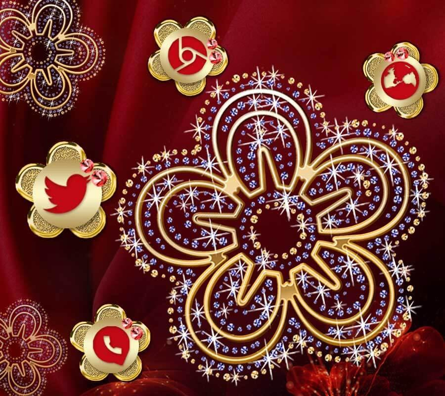 Red Golden Flower Theme Luxurious Wallpaper for Android - APK Download
