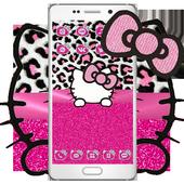 Pink Silver Diamond Leopard Kitty Theme icon