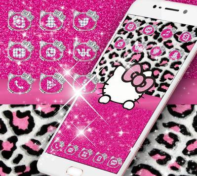 Pink Silver Diamond Leopard Kitty Theme poster